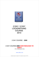 Locksmith training courses prospectus